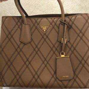 RARE Prada Quilted Double Cuir Caramel Large Bag